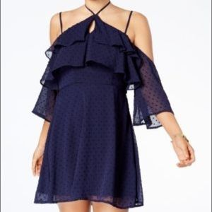 Trixxi Daytime Blue  Ruffled Cold. Shoulder Dress